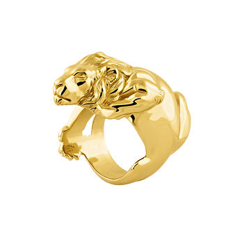 Large gold plated lion ring, J04237-02, hi-res