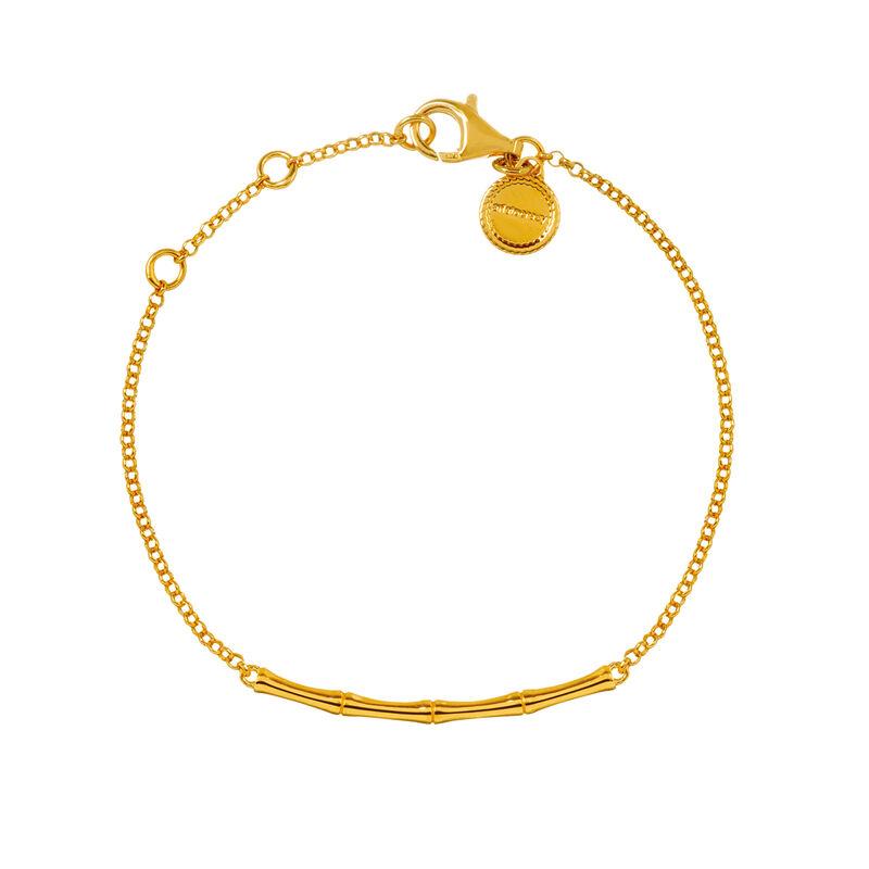 Pulsera bambú plata recubierta oro, J03043-02, hi-res