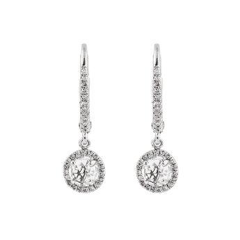 Silver pendant hoop earrings , J01308-01-WT, hi-res