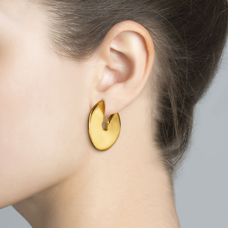Large gold plated sculptural hoop earrings, J03504-02, hi-res