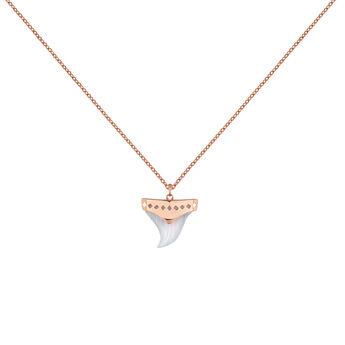 Collar colmillo plata recubierta oro rosa, J04392-03-BLA, hi-res