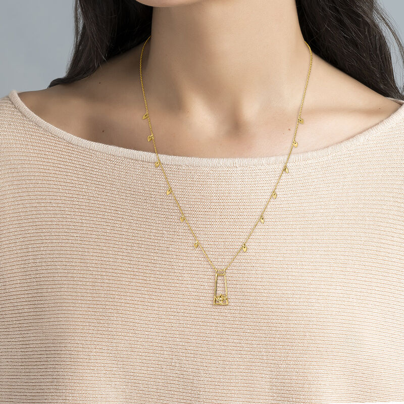 Collar flor de loto plata recubierta oro, J04718-02, hi-res