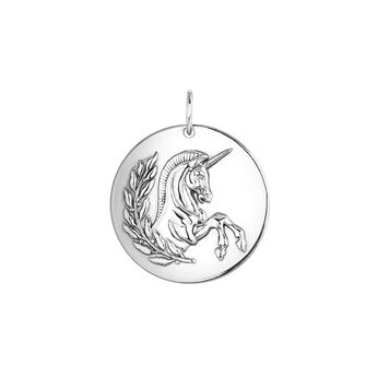Silver unicorn pendant, J04009-01, hi-res
