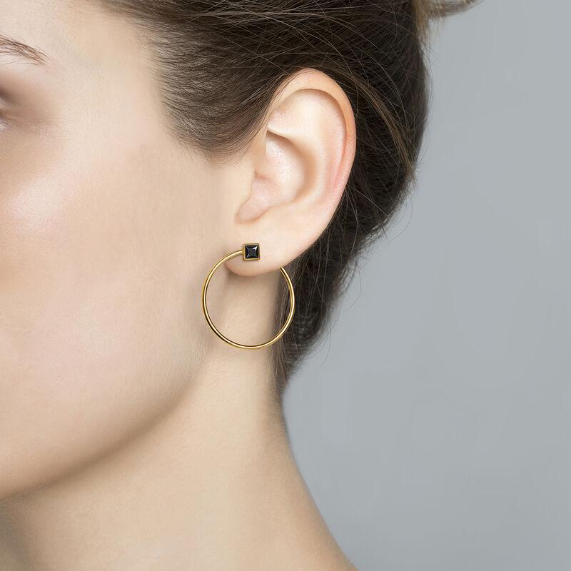 Boucles d'oreilles créoles spinelle argent plaqué or, J04091-02-BSN, hi-res