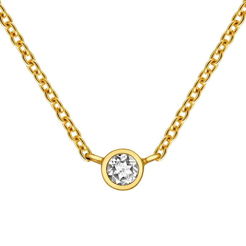 Gold-plated silver bezel-set topaz chain, J03435-02, hi-res