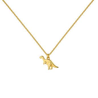 Collar charm dinosaurio plata recubierta oro, J04861-02, hi-res