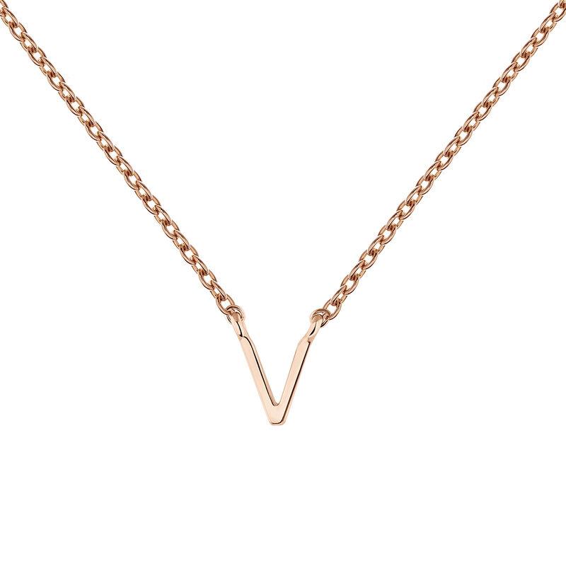 Rose gold Initial V necklace, J04382-03-V, hi-res