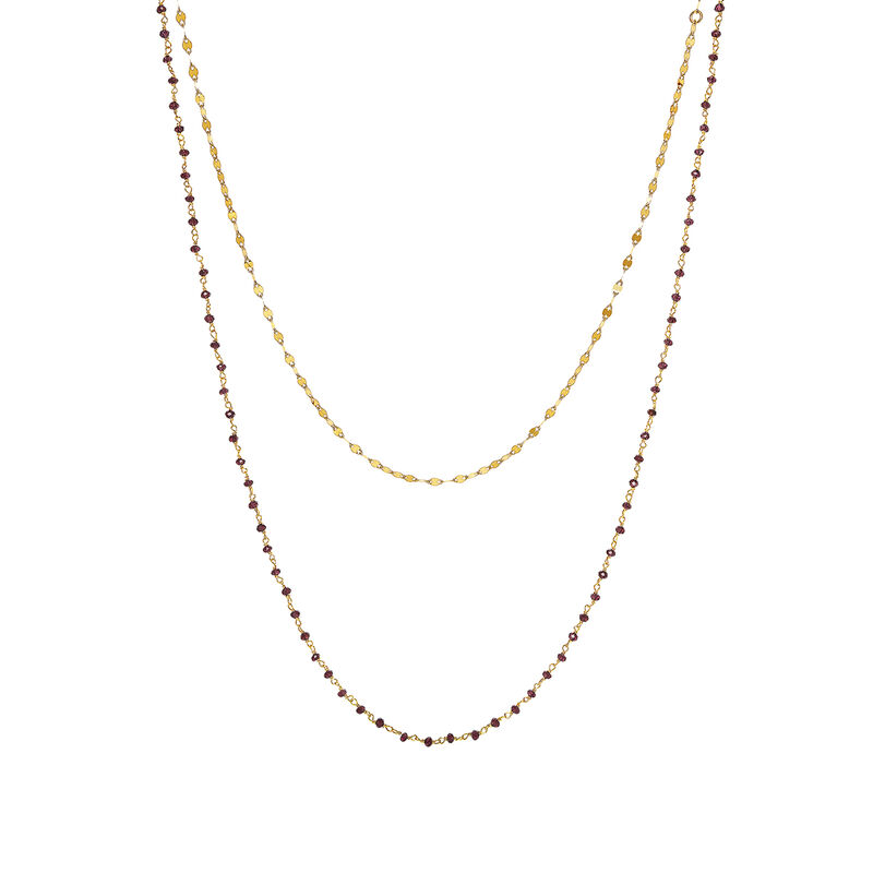 Collar doble rodolita oro, J03736-02-RO, hi-res