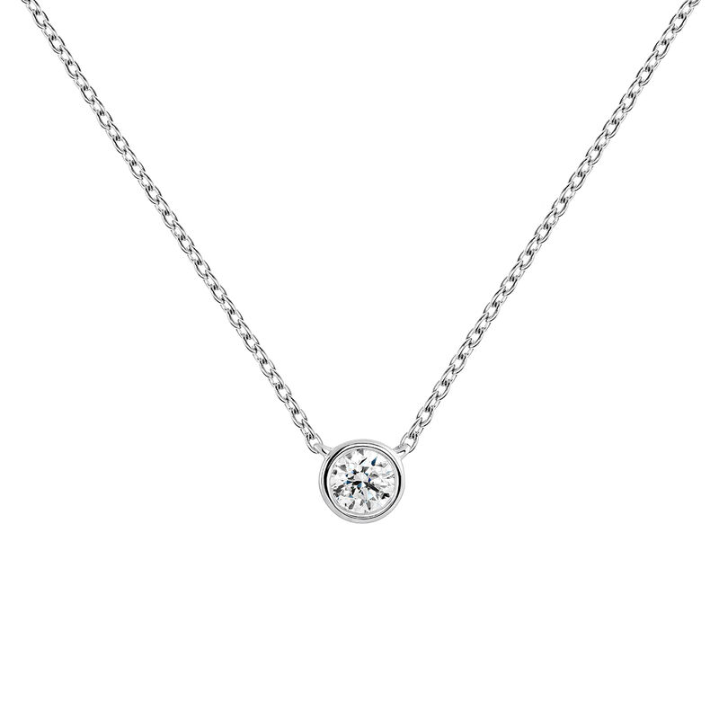 Collier diamant 0,10 ct or blanc, J04007-01-10, hi-res