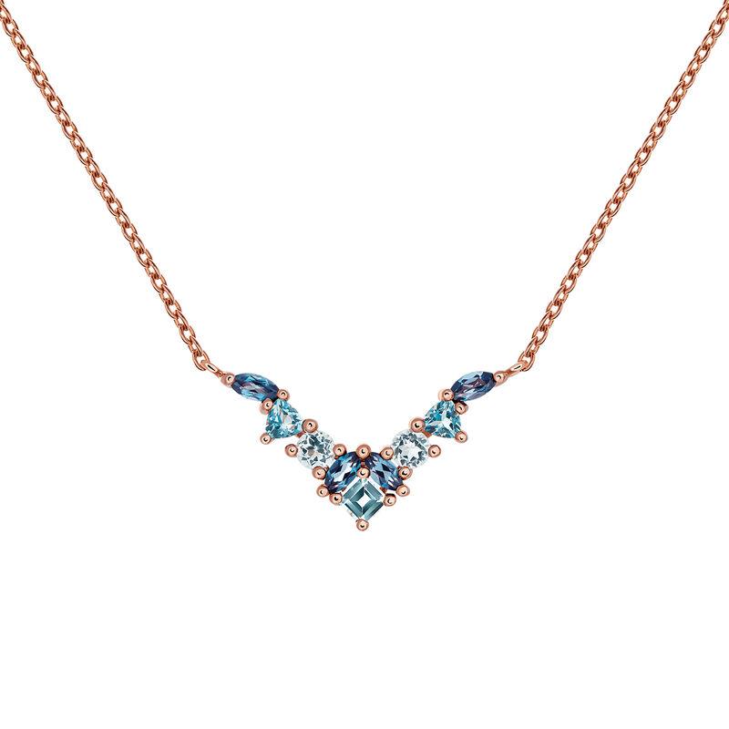 Large rose gold plated necklace with topaz, J03425-03-LBSBSK, hi-res