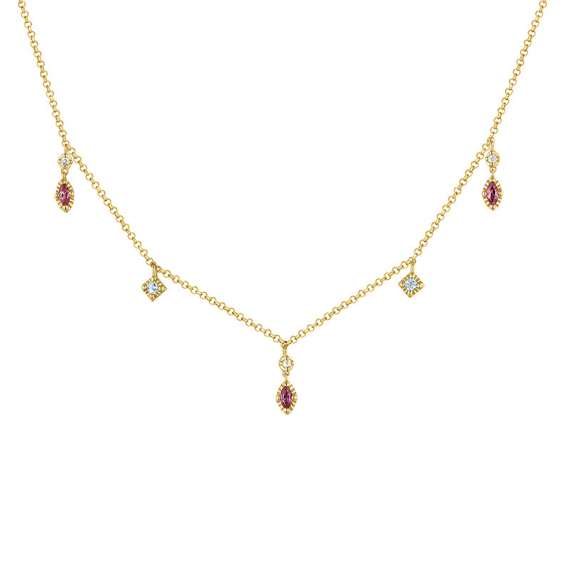 Gold plated silver stone motif necklace, J04682-02-RO-SB-WT, hi-res