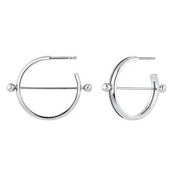 Silver piercing bar open hoop earrings, J04321-01, hi-res