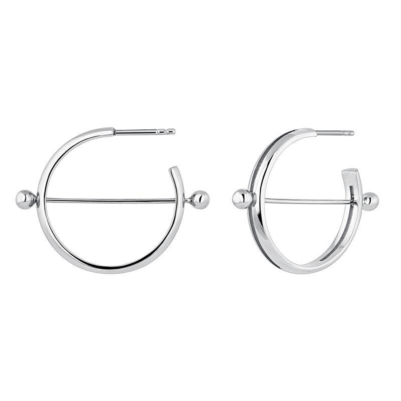 Silver piercing bar open hoop earrings, J04321-01, hi-res