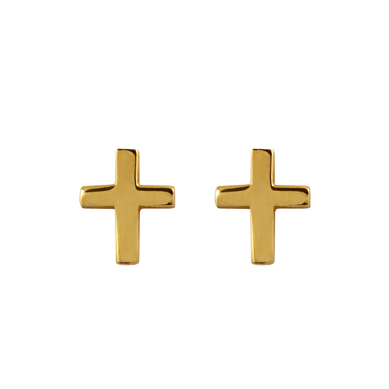 Gold cross earrings, J00865-02, hi-res
