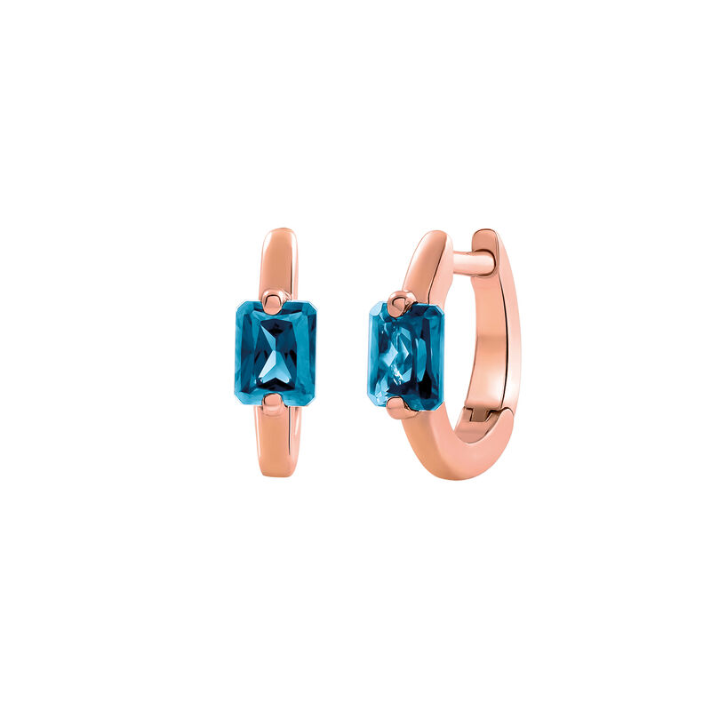 Rose gold topaz mini hoop earrings, J03274-03-LB, hi-res