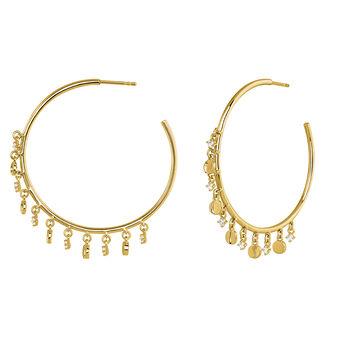 Gold hoop pendant motif earrings, J03994-02-WT, hi-res