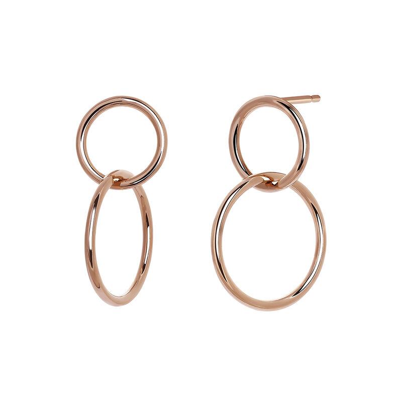 Pendientes aro doble pequeños plata recubierta oro rosa, J03587-03, hi-res
