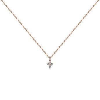 Pink gold diamonds and diamonds clover necklace, J04430-03, hi-res