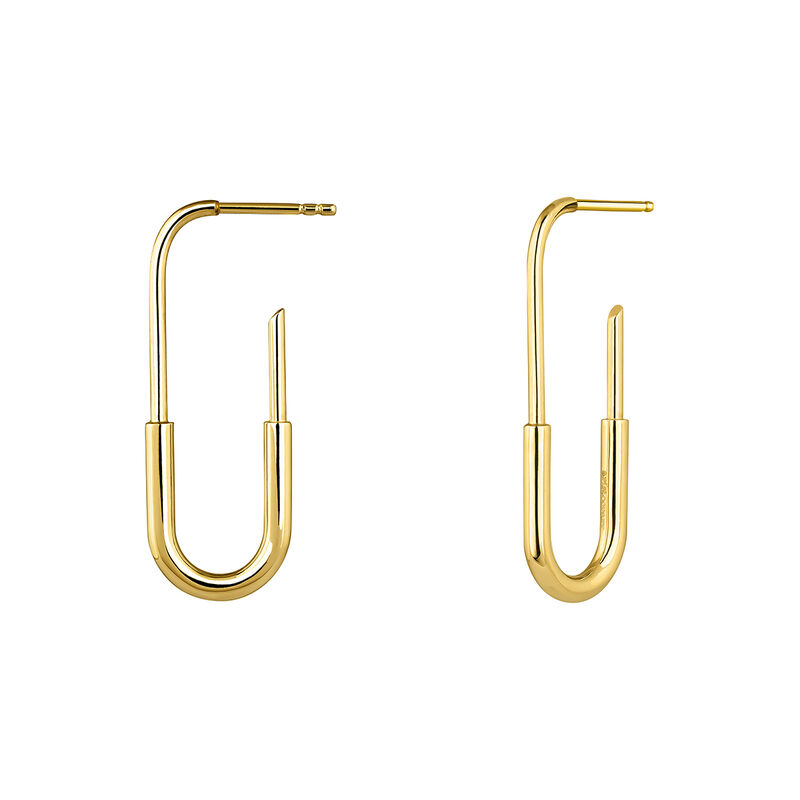 Large gold plated link earrings, J04212-02, hi-res