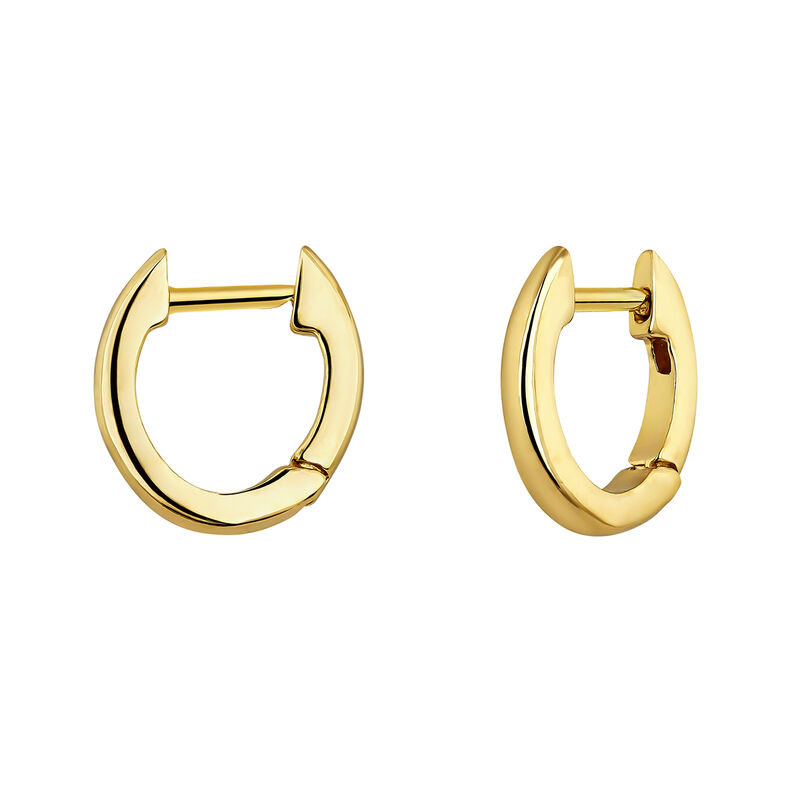Small gold plated hoop earrings, J04648-02, hi-res