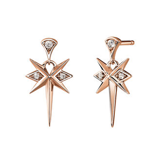 Rose-Gold Short Bohemian Earrings, J03897-03-WT, hi-res