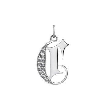 Gothic letter C pendant topaz silver, J04015-01-WT-C, hi-res