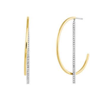 Bicolor pendant hoop earrings with topaz, J04031-09-WT, hi-res