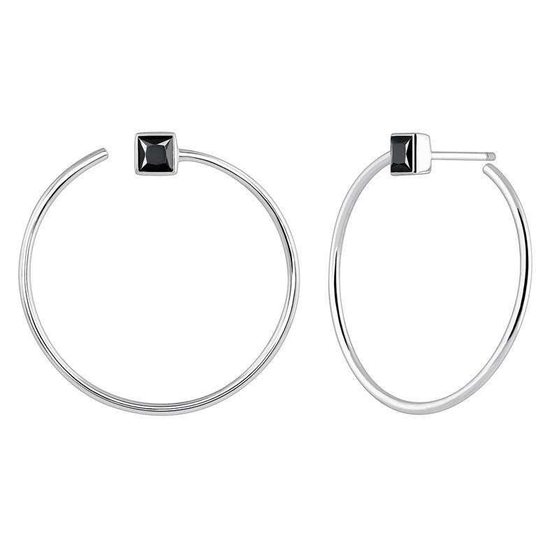 Silver hoop earrings with spinels, J04091-01-BSN, hi-res