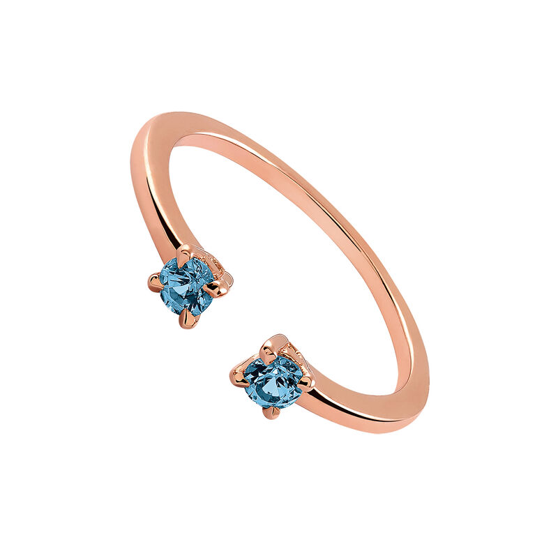 Rose gold plated topaz You and I ring, J03251-03-LB, hi-res