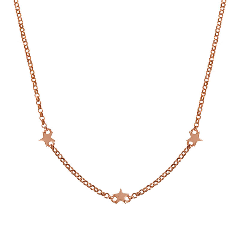 Mini rose gold plated stars necklace, J01900-03, hi-res