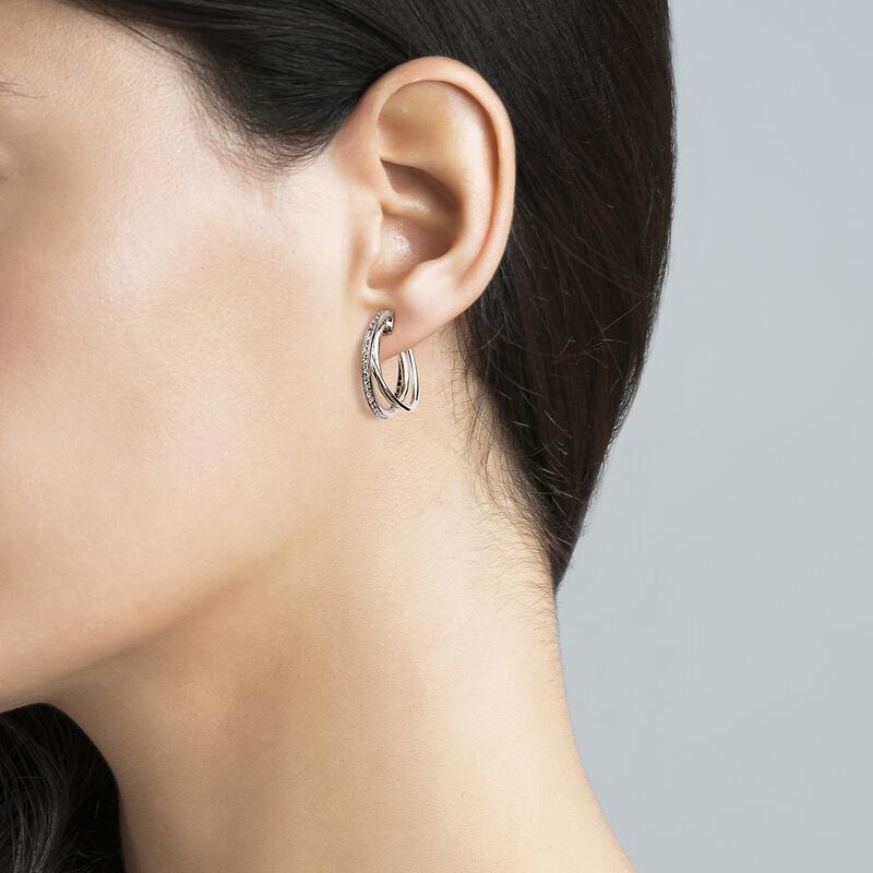 Medium silver combined hoop earrings, J03664-01-WT, hi-res
