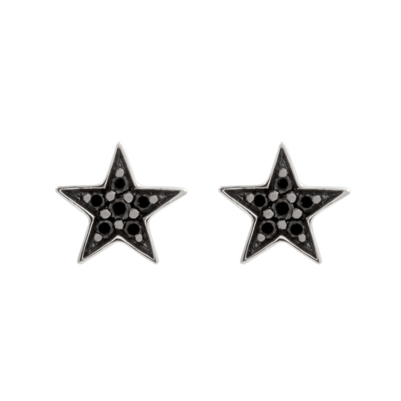 Silver star earrings with spinels , J01858-01-BSN, hi-res