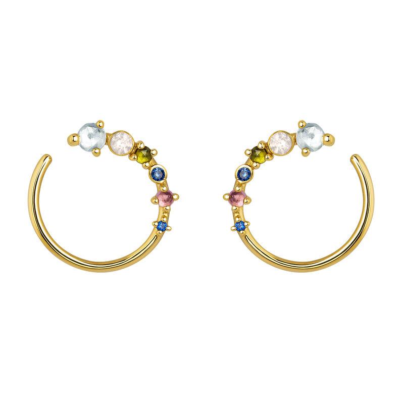 Gold plated tourmaline multi-stone hoop earrings, J04142-02-SKYPQGTBS, hi-res