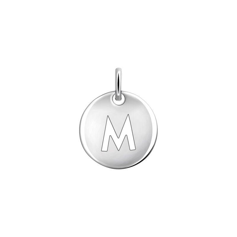 Colgante medalla inicial M plata, J03455-01-M, hi-res