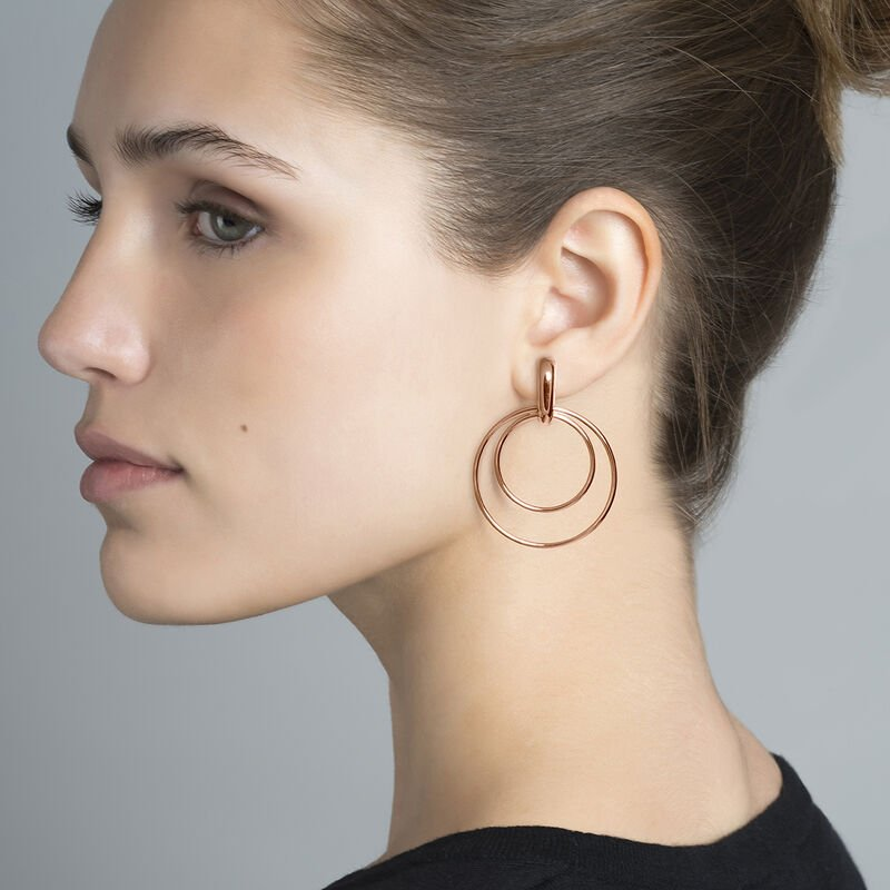 Thin rose gold double hoop earrings, J03653-03, hi-res