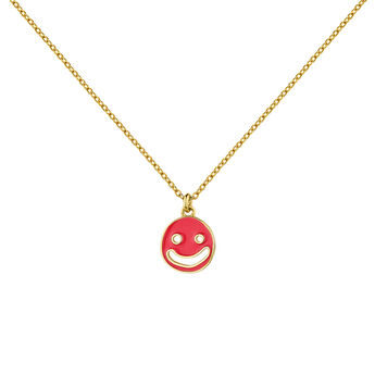 Collar motivo smiley esmaltado plata recubierta oro, J04843-02-PKENA, hi-res