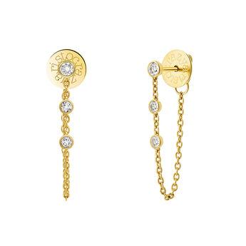 Gold topaz Creole earrings, J03672-02-WT, hi-res