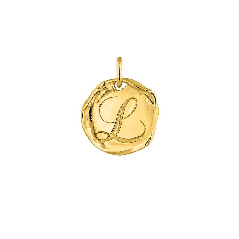 Pendentif médaille initiale L en argent plaqué or, J04641-02-L, hi-res