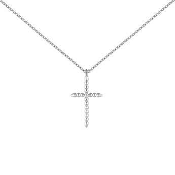 Silver necklace with a large cross with topazes, J04235-01-WT, hi-res
