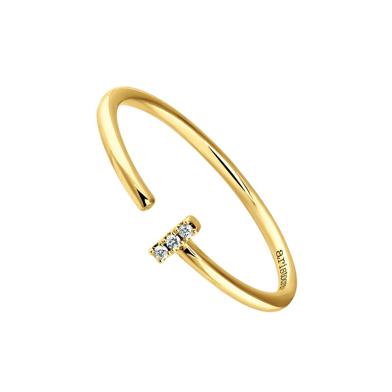 Small yellow gold You and I diamond ring, J03880-02, hi-res