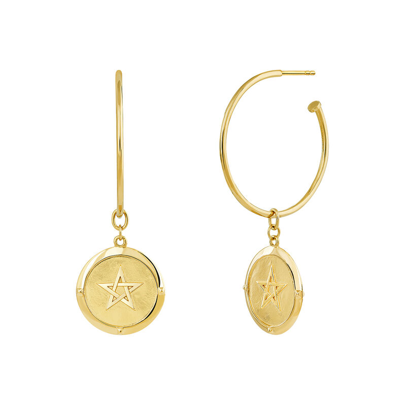 Gold plated coin hoop earrings, J03594-02, hi-res