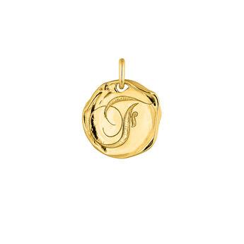 Colgante medalla inicial F plata recubierta oro, J04641-02-F, hi-res