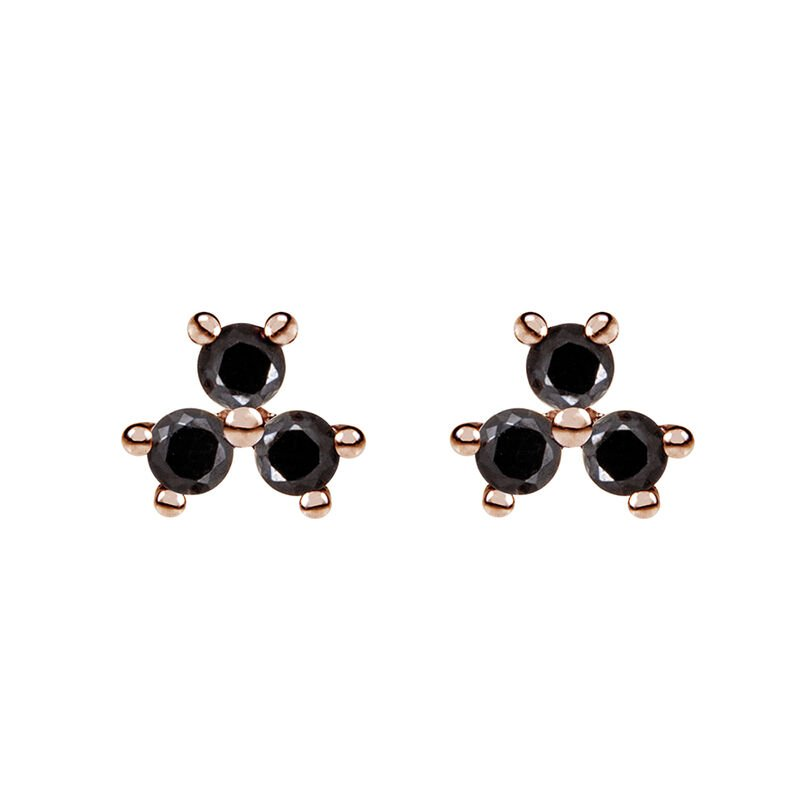 Rose gold plated shamrock earrings with spinels, J01965-03-BSN, hi-res