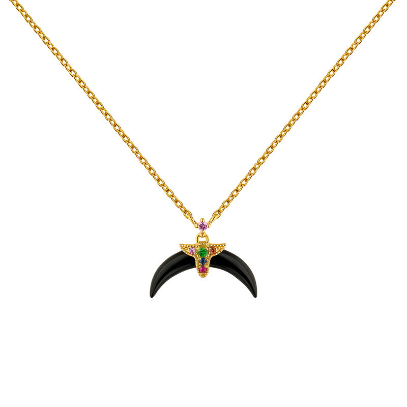 Gold plated multi-stone motifs onyx horn necklace, J04316-02-ONMULTI, hi-res