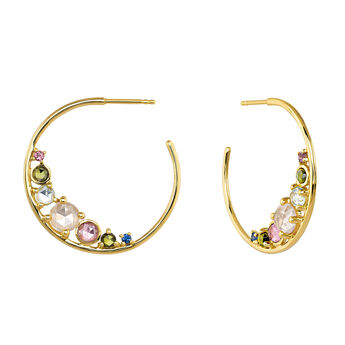 Gold plated patterns stones hoop earrings, J04143-02-PTGTSKYPQ, hi-res