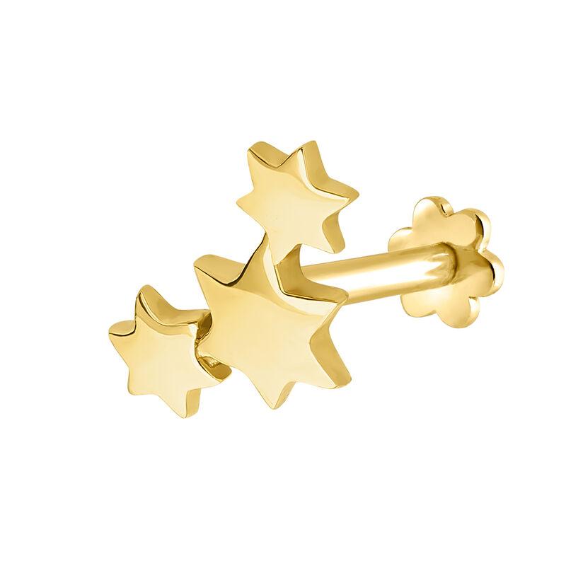 Boucle d'oreille piercing étoiles or 9 kt, J04520-02-H, hi-res