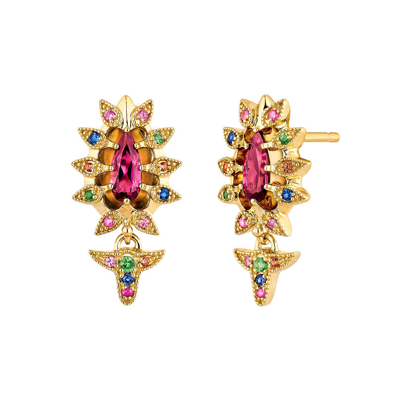 Gold plated silver rhodolite motif earrings, J04307-02-ROMULTI, hi-res