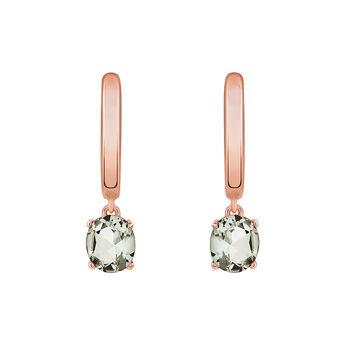 Pendientes de aro piedra pequeños oro rosa, J03234-03-GQ, hi-res