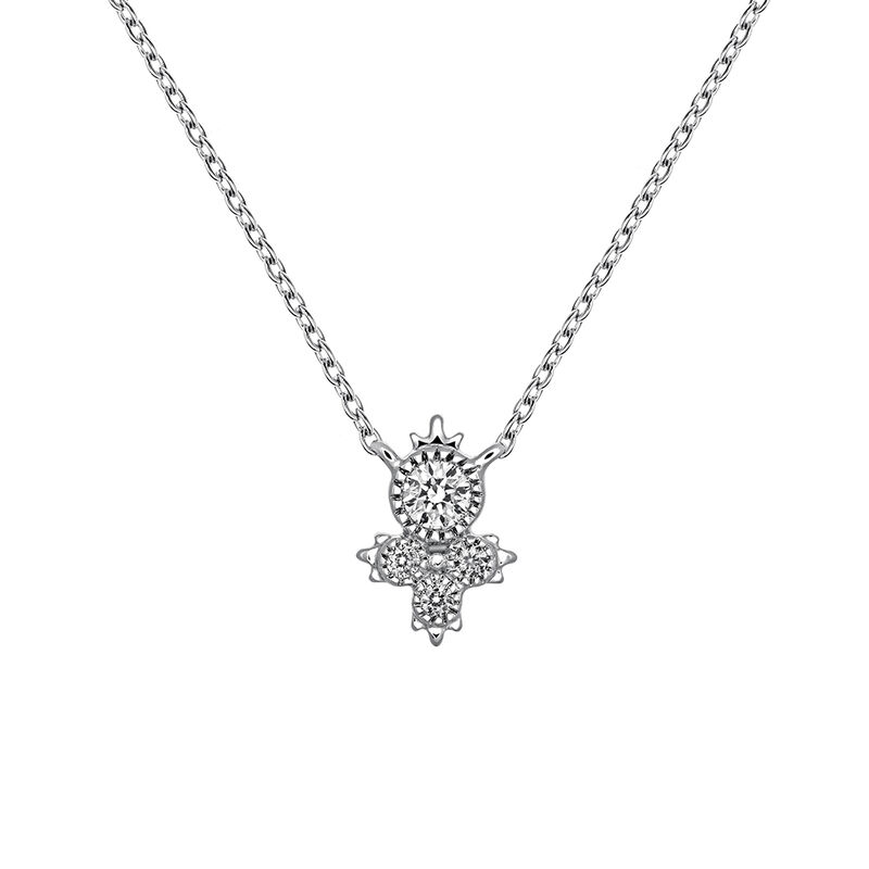 Colgante cuatro diamantes 0,0902 ctoro blanco 9 kt, J03395-01, hi-res