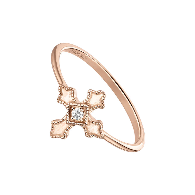 Rose gold plated cross ring with topaz, J04225-03-WT, hi-res